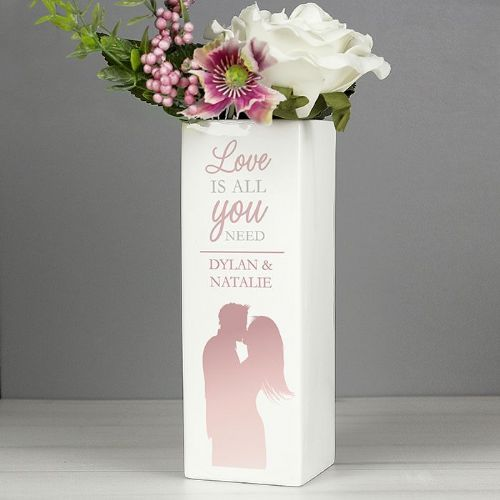 Personalised 'Love is All You Need' Square Vase